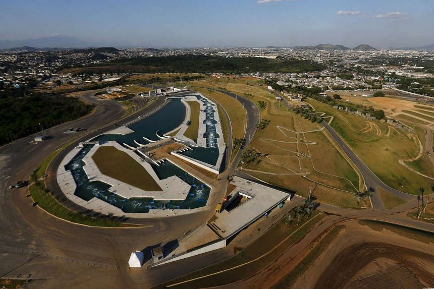 An aerial view shows the Deodoro Olympic Park ahead of the 2016 Rio Olympics in Rio de Janeiro, Brazil, on April 25, 2016.