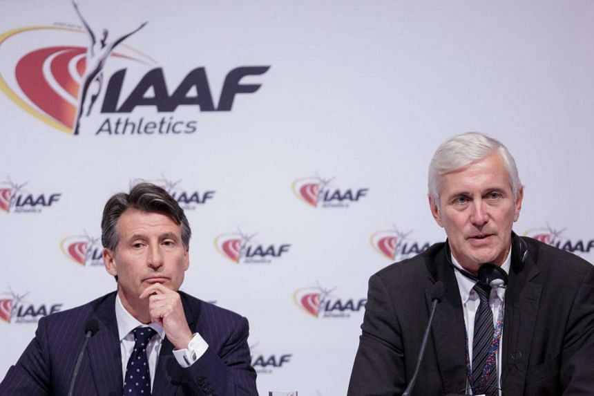 Sebastian Coe (left), President of the IAAF, and Rune Andersen, head of IAAF taskforce on Russia, address a news conference after a council meeting in Vienna, Austria, on June 17.