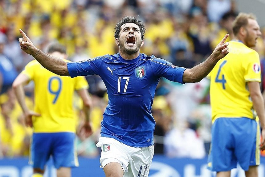 Eder celebrating after putting Italy up against Sweden in Toulouse. The 88th-minute goal, which brought a somewhat dull match to life, turned out to be the winner.