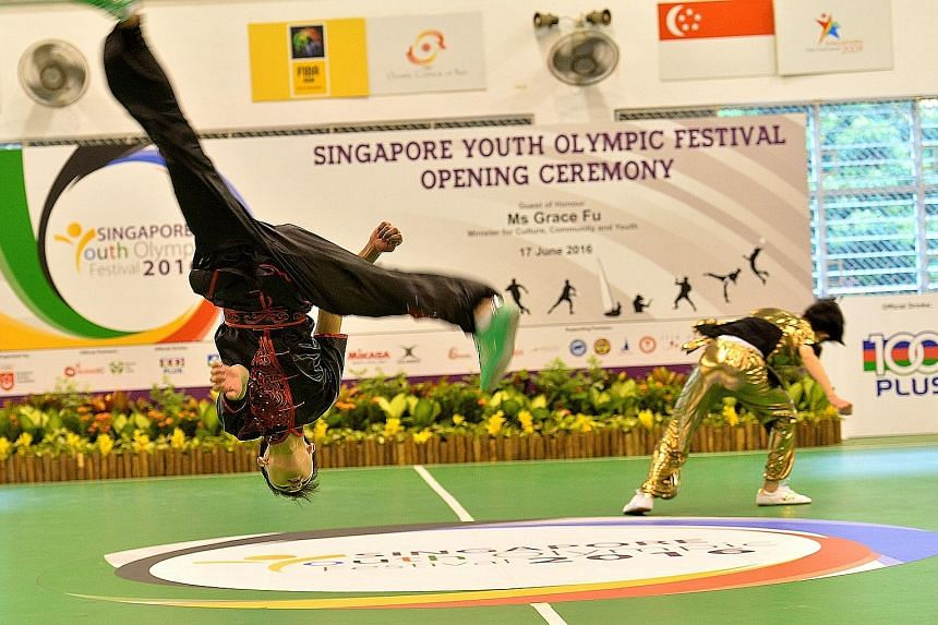 The Anglican High School wushu team showing off their moves at the opening ceremony. Registration is still open for some sports.