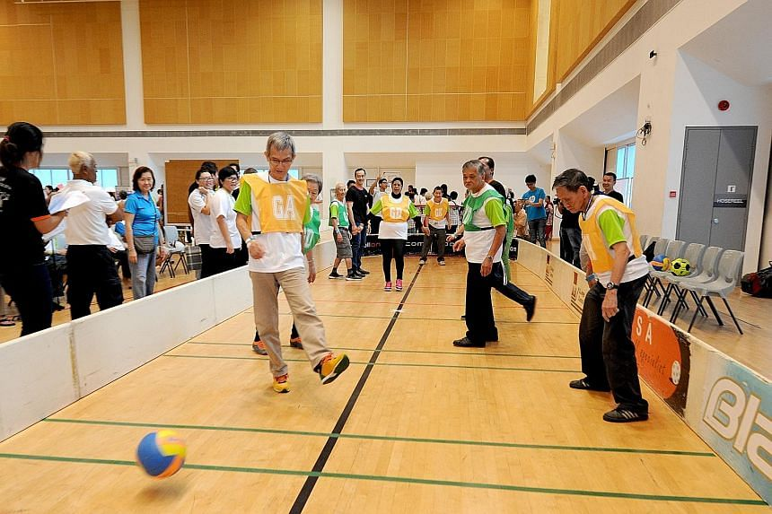 About 400 seniors took part in the AWWA 7th Silver Sports Day 2016, held at ITE College Central yesterday. AWWA was known previously as the Asian Women's Welfare Association. The seniors were from the AWWA Health and Senior Care and other eldercare s