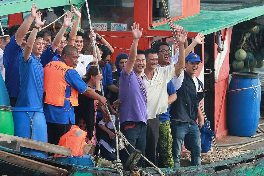Six Malaysian fishermen detained by Indonesia for alleged poaching returning home after being freed. Deputy Prime Minister Ahmad Zahid Hamidi said he had intervened to get the six - two from Sungai Besar and four from Johor - released.