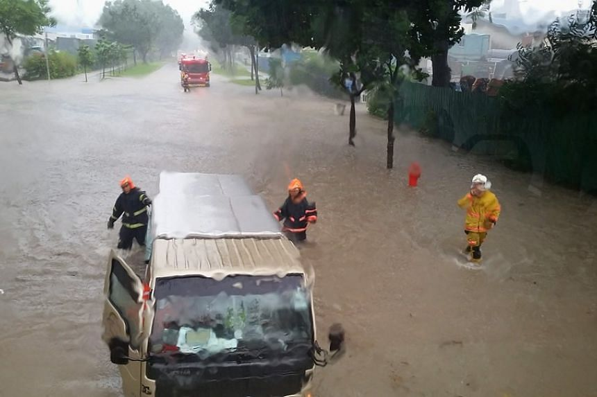 The victims were evacuated from the vehicles - a bus, a lorry and a car - affected by torrential rain in the area.