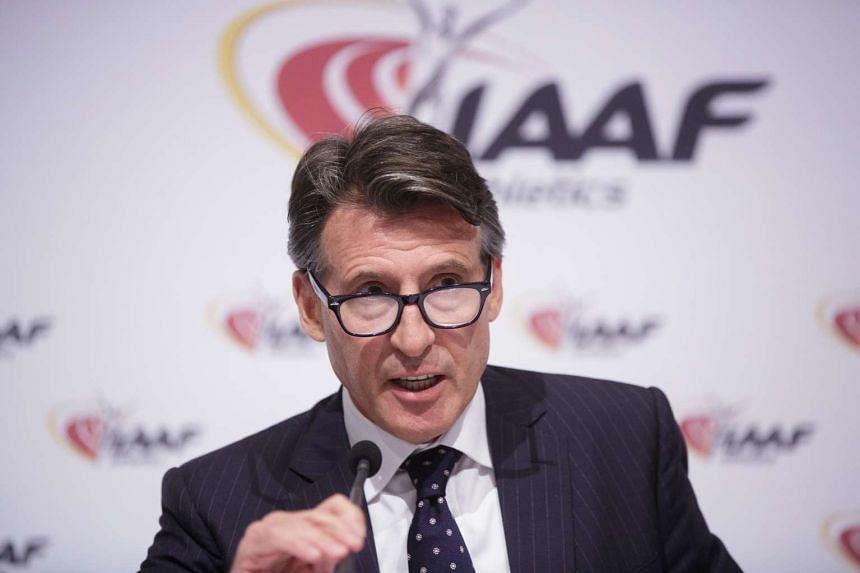IAAF president Sebastian Coe addressing a news conference in Vienna, Austria, on June 17, 2016.