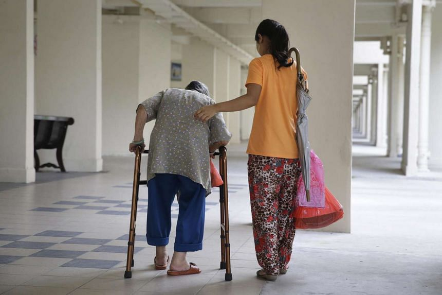 A domestic worker assisting an elderly woman.