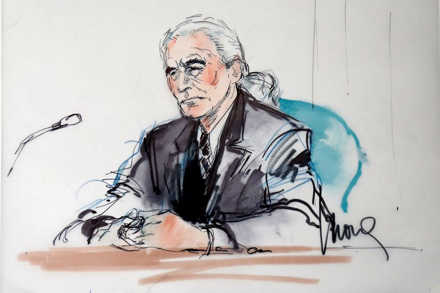 A courtroom sketch of Led Zeppelin guitarist Jimmy Page in a hearing in a lawsuit involving their rock classic song Stairway To Heaven.