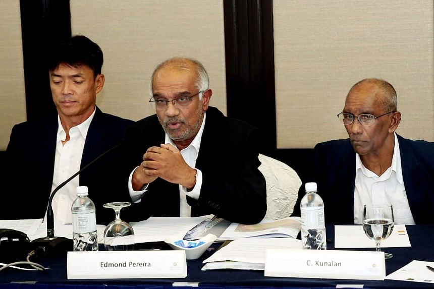 Lawyer Edmond Pereira (centre), who is bidding to be the next Singapore Athletics president, named current SA vice-president C. Kunalan and former national men's relay coach Melvin Tan to be part of his team that will contest the elections in two wee