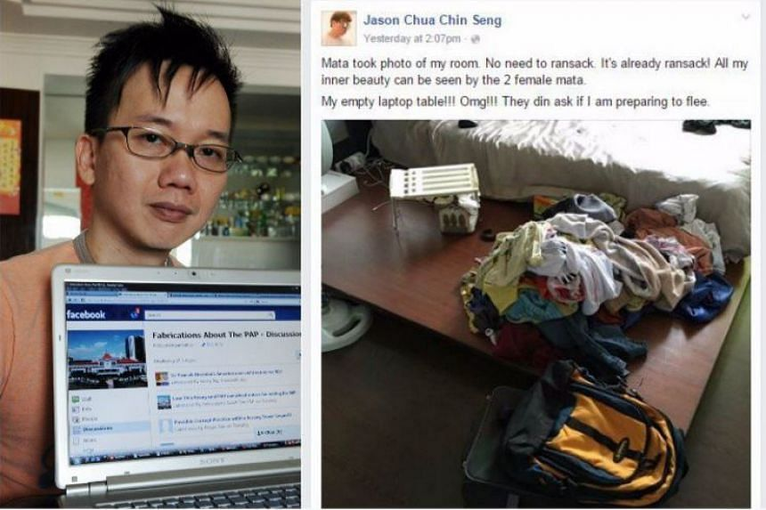 Fabrications About The PAP founder Jason Chua (left) described the police investigation in separate Facebook posts.