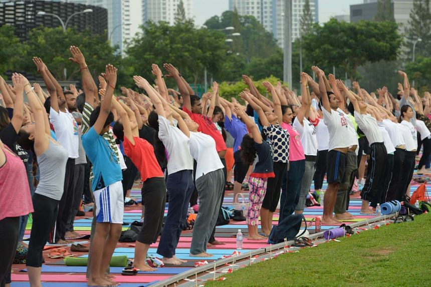 A free yoga session for the public was organised by Nikam Guruji Yoga Kutir at the Kallang Practice Track on June 19, as part of the worldwide celebrations for International Day of Yoga.