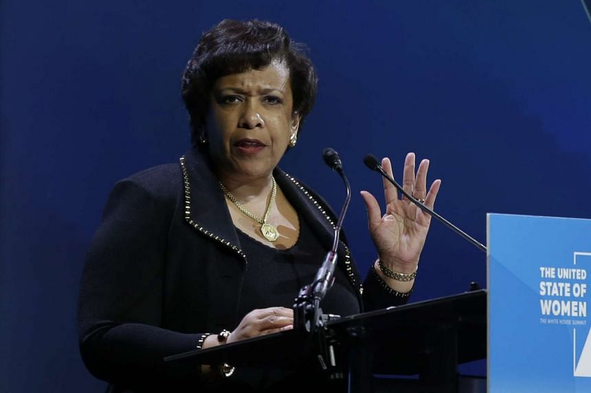 US Attorney General Loretta Lynch speaks at the White House Summit on the United State of Women in Washington, DC on June 14, 2016.