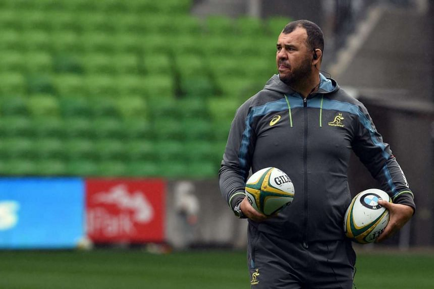 Australian Wallabies head coach Michael Cheika looks on during the captain's run at AAMI Park in Melbourne on June 17, 2016.