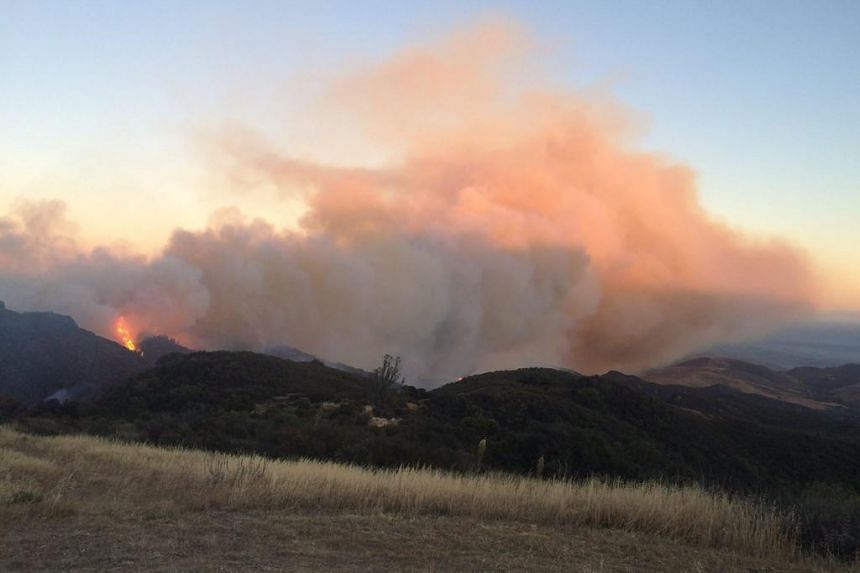A handout picture released by the Santa Barbara County Fire Department on June 17, 2016 shows the Sherpa Fire burning near Goleta.