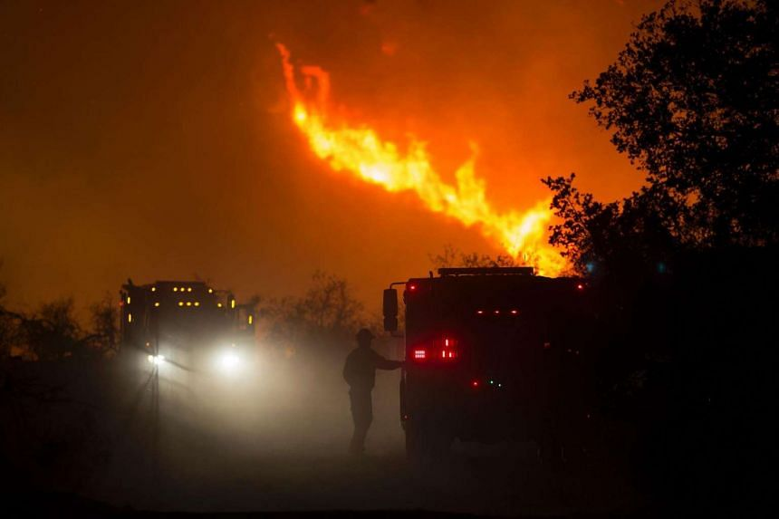 Firefighters battle an expanding wildfire on June 17, 2016 at the Sherpa Fire near Santa Barbara,California.