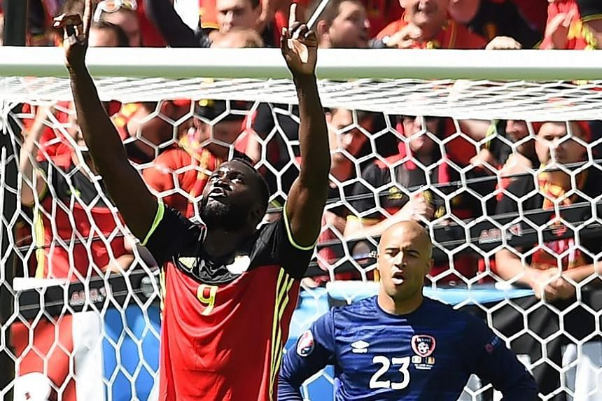 Romelu Lukaku celebrating his second and Belgium's third goal in the 3-0 disposal of Ireland as Irish goalkeeper Darren Randolph can only look on, with his side's chances of staying in the competition slim after this defeat. For Belgium's golden gene