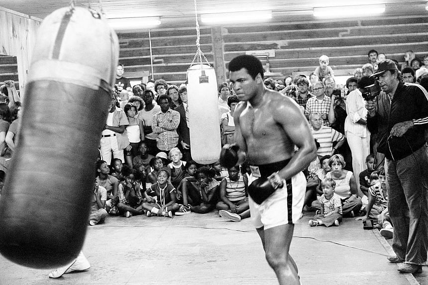 A final bell is going for a generation. (Clockwise from above) Muhammad Ali, training in New Orleans in this photo from 1978, is showing off his footwork to the angels, David Bowie is silent, Prince has passed and Harper Lee is gone.