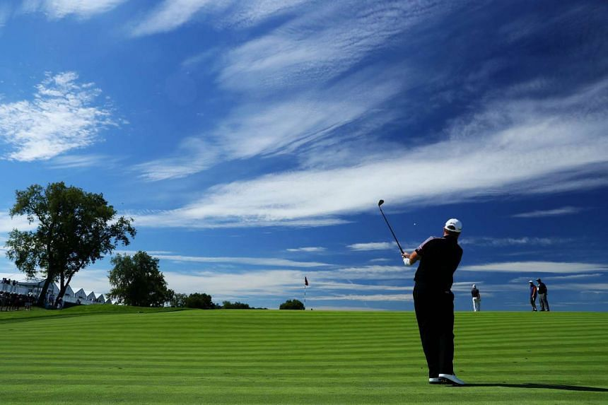 Shane Lowry of Ireland plays his shot on the third hole during a practice round prior to the US Open at Oakmont.