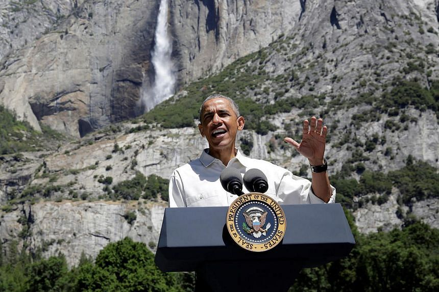US President Barack Obama speaks about the National Park Service at Yosemite National Park, California.