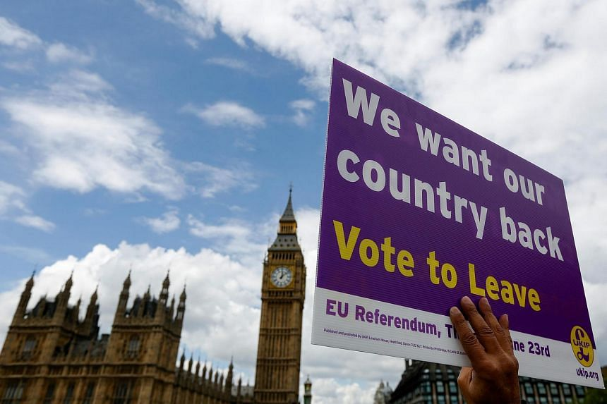 A demonstrator for the Leave campaign holds a placard outside Houses of Parliament in London, UK, on June 15.