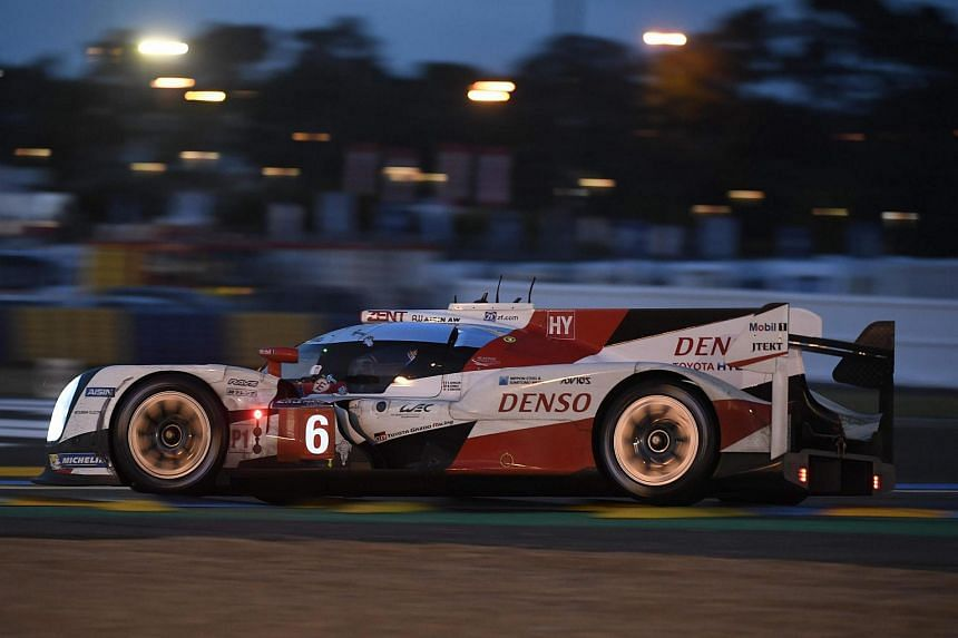 France's Stephane Sarrazin drives his Toyota TSO50 Hybrid N°6 as he competes during the 84th Le Mans 24-hours endurance race on June 18 in Le Mans, western France.