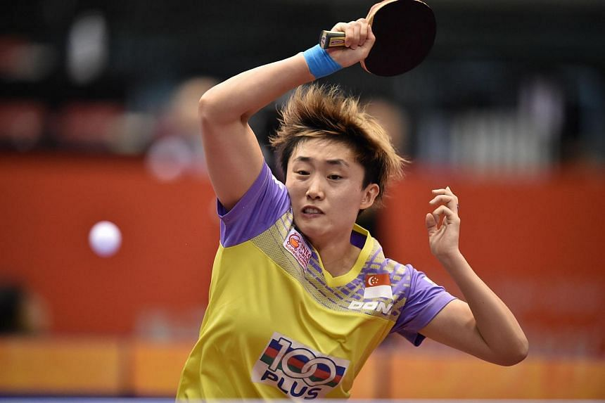 Feng Tianwei hits a return against Cheng I-Ching during the women's singles quarter-final table tennis match at the ITTF World Tour Japan Open table tennis tournament