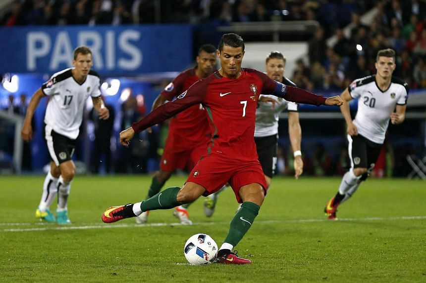 Cristiano Ronaldo takes a penalty during the Uefa Euro 2016 match between Portugal and Austria.