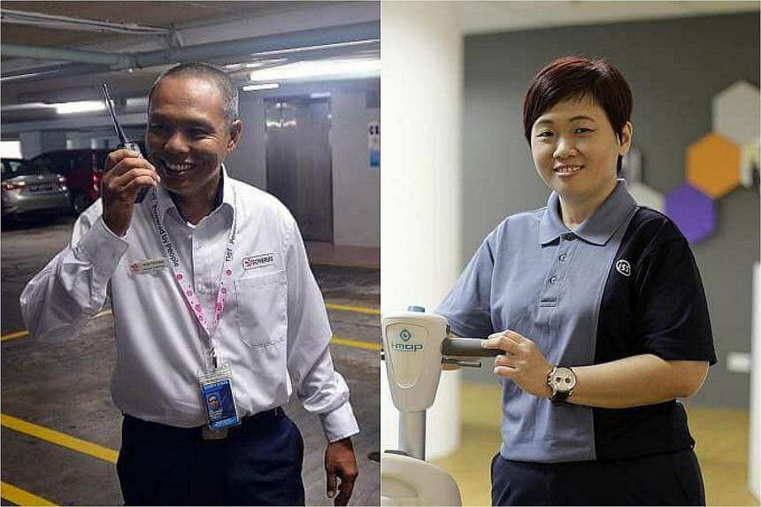 The Progressive Wage Model (PWM) has benefited workers in the cleaning sector such as Ms Joey Wee (right) and will be soon be implemented in the security sector to help other individuals such as Mr Wan Teruna (left).