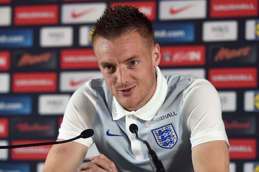 England forward Jamie Vardy attends a press conference in Chantilly, on June 18, 2016.