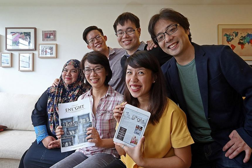 NIE lecturer Dr Loh (front row, second from left) with Enl*ght contributors (front row, from left) Siti Mariam Abdul Hakeem and Judith Lam, and (back row, from left) Yeo Zhi Wen, Ow Yeong Wai Kit and NIE lecturer Ken Mizusawa.