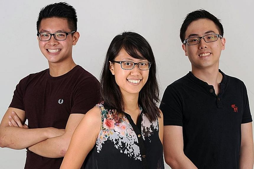 From left: Unseen editors Leonard Yip, Joanne Loo and Jerome Lim are among a group of eight young people who produce a magazine aimed at spurring A-level students of English literature to explore their texts outside the pressure-cooker environment of