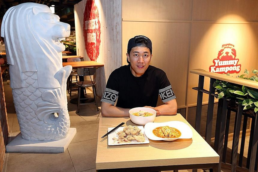 Korean actor-singer Jang Soo Won (top) at Singapore restaurant Yummy Kampong in Dongdaemun in Seoul with the eatery's three bestsellers (clockwise from above left) cereal prawn, laksa and chilli crab. Singaporean Ken Ng, co-founder of Merlion Cafe, w