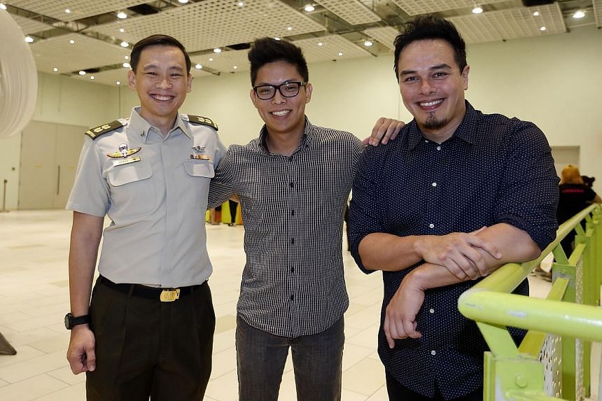The team behind the new theme song include (from left) NDP multimedia committee chairman Lt-Col Lim, music video producer Mr Huang and composer Mr Richmond, who said he got his inspiration for the song while in the shower.
