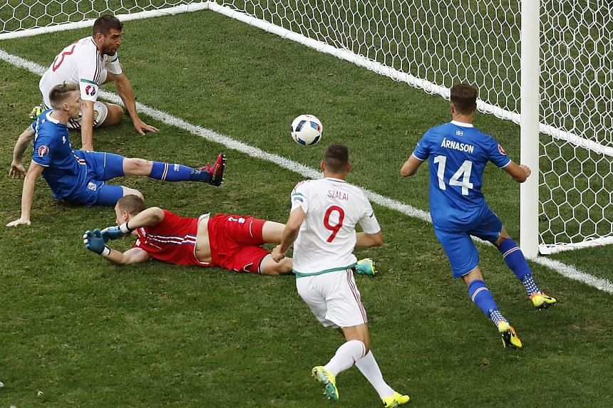 Iceland defender Birkir Saevarsson (left, in blue) looking on in horror after bundling the ball into his own goal to hand Hungary a late equaliser. The two sides shared the spoils 1-1.