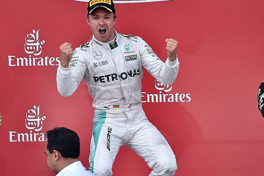 Mercedes driver Nico Rosberg celebrating his win at the inaugural European Grand Prix in Azerbaijan. The German halted a three-race rut to record his fifth win and extend his championship lead by 24 points.