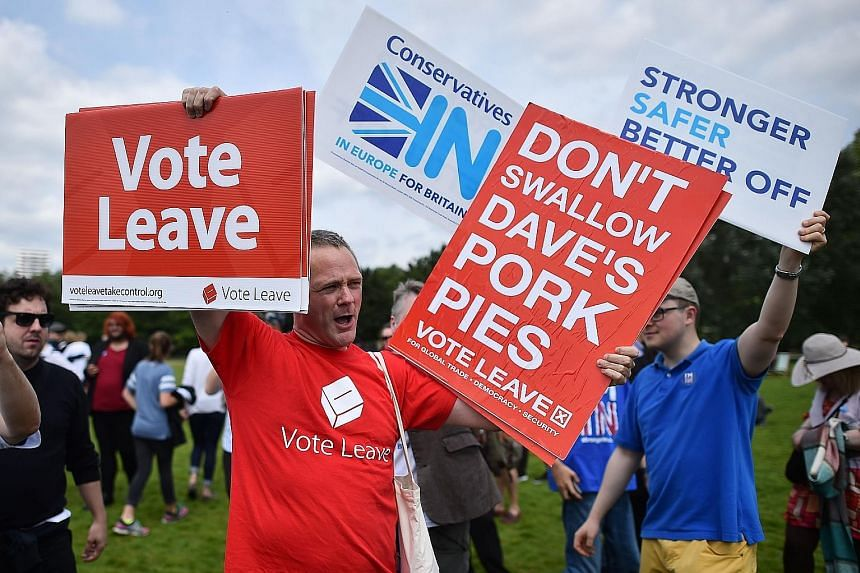 "A supporter for Vote Leave - the official campaign for a ""Leave"" vote - at a Hyde Park rally in London yesterday for Britain Stronger In Europe, the ""Remain"" campaign group seeking to avoid a Brexit."
