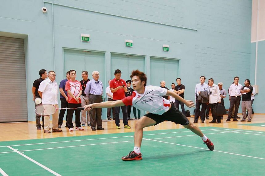 President Tony Tan Keng Yam drops in on shuttler Derek Wong as he trains for the Olympics on June 20, 2016.