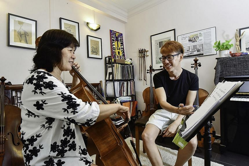 Madam Wong will perform with her son Hughes Chong's amateur cello group on Saturday.