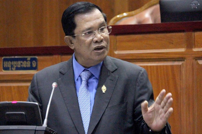 Cambodian Prime Minister Hun Sen speaking at a meeting at the National Assembly building in Phnom Penh on April 4.