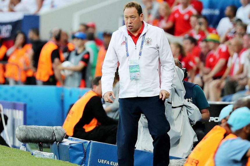 Russia's coach Leonid Slutsky during the UEFA EURO 2016 group B preliminary round match between Russia and Wales at Stade Municipal in Toulouse, France, on June 20.