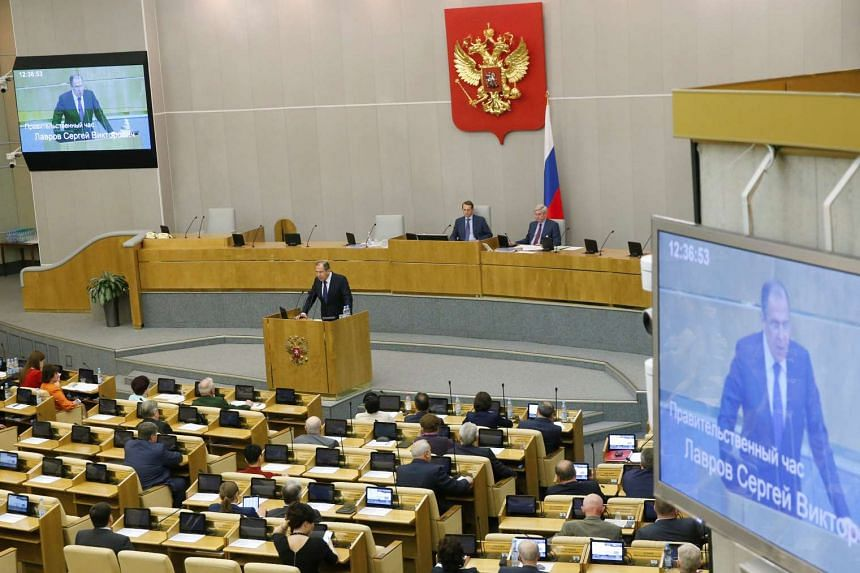 Russian foreign minister Sergei Lavrov delivers a speech at the State Duma, the lower house of parliament, in Moscow, on June 15, 2016.