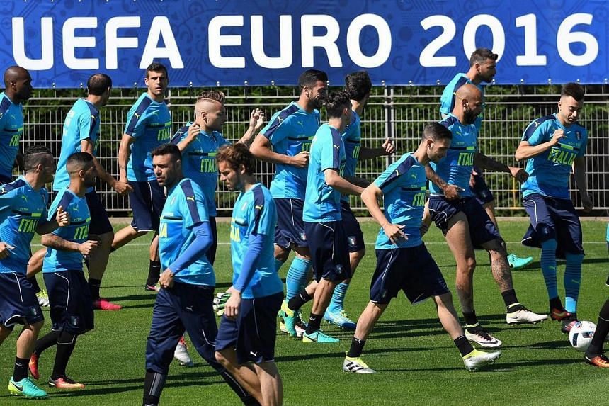 Italy's team players during a training session at Bernard-Gasset sport center in Montpellier, France, on June 19.