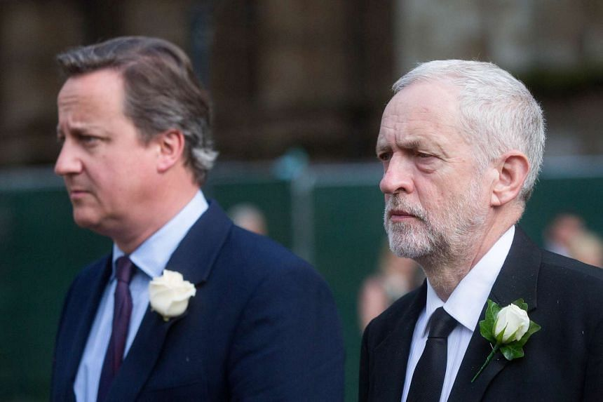 PM David Cameron (left) and opposition Labour party leader Jeremy Corbyn arrive for the prayer service on June 20, 2016.