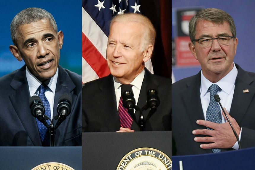 (From left) US President Barack Obama, Vice-President Joe Biden and Defence Secretary Ashton Carter have taken aim at policies of Republican presidential candidate Donald Trump.