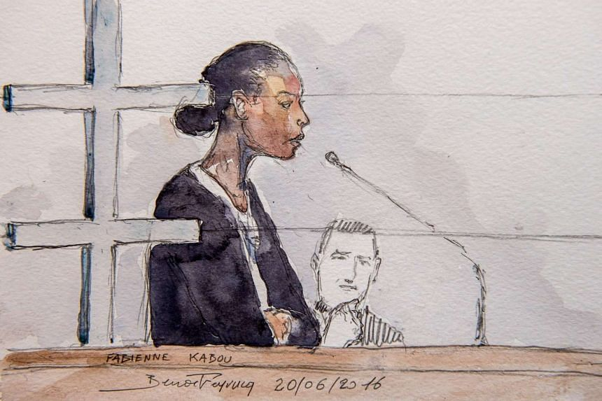 A court sketch made on June 20, 2016 shows Fabienne Kabou speaking during the first day of her trial.