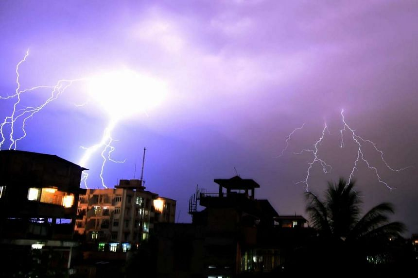 Lightning during a storm over Guwahati, India on April 18, 2016.