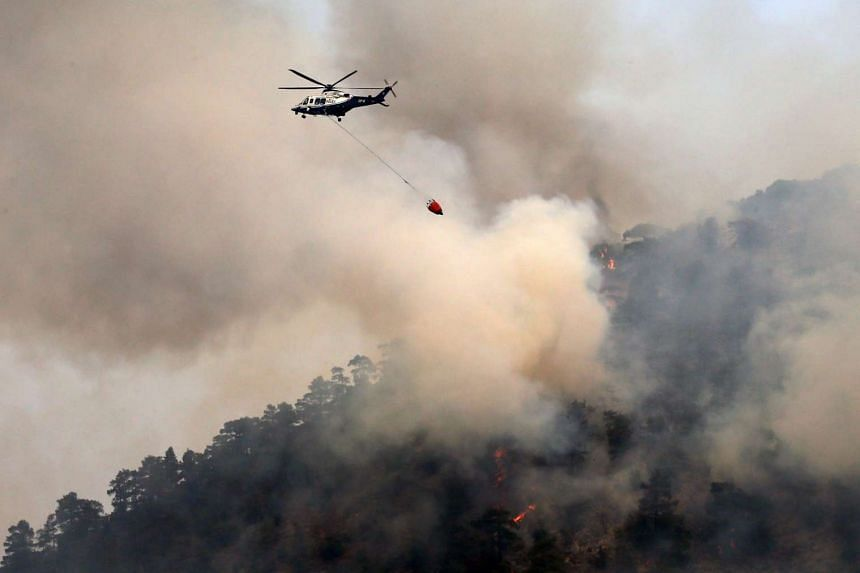 A helicopter drops water on a forest fire in the Troodos mountain area of Cyprus, on June 21, 2016. Three aircraft from France and one from Italy will join Cypriot firefighters in the battle to control some of the worst forest fires to have hit the i