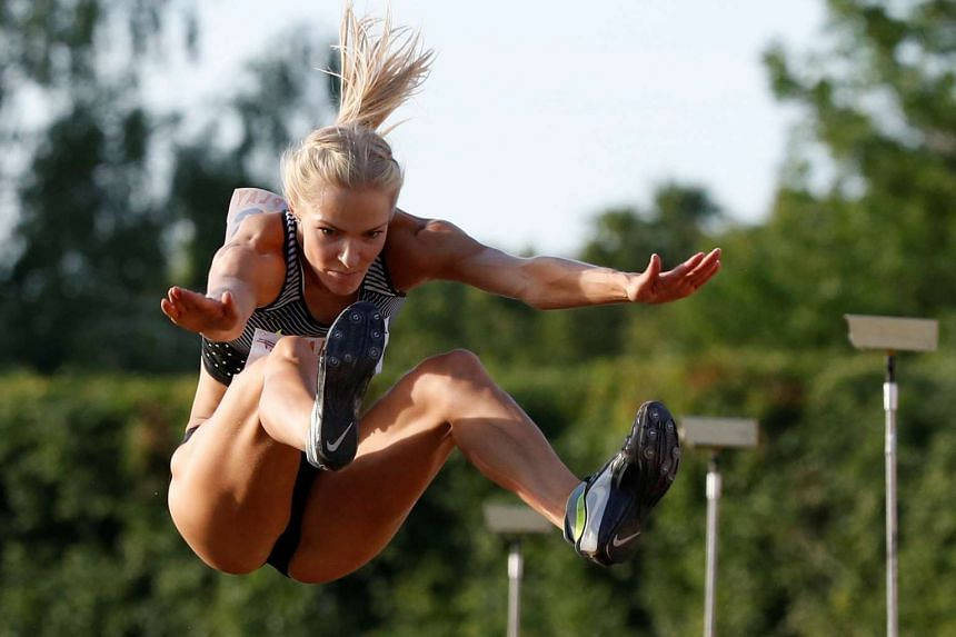 Darya Klishina during an attempt at the women's long jump event of the Russian track and field championship on June 21, 2016.