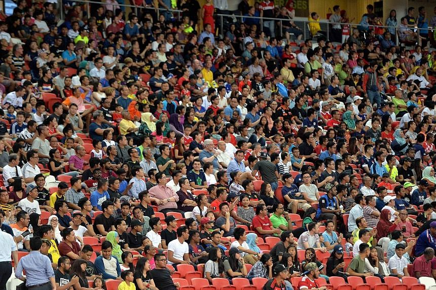 Some of the spectators who watched Tampines beat Selangor 1-0 in May at the National Stadium.