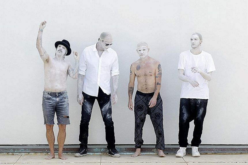 Red Hot Chili Peppers comprise (from far left) Anthony Kiedis, Chad Smith, Flea and Josh Klinghoffer. They retain their rhythm-heavy sound in their new album The Getaway.