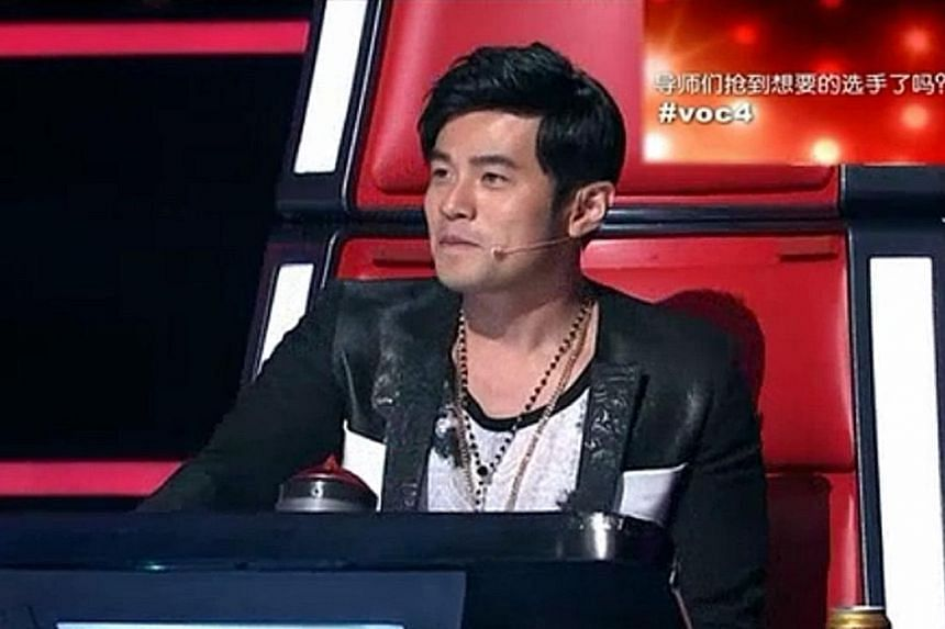 Singer Jay Chou as a judge on The Voice Of China, which is licensed from Dutch producer Talpa Media.
