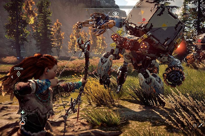 In this action role-playing game, players control Aloy, a young redheaded hunter who leaves her tribe to discover the truth behind the fall of humanity, in a universe a thousand years in the future.
